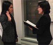 Lauren being sworn in