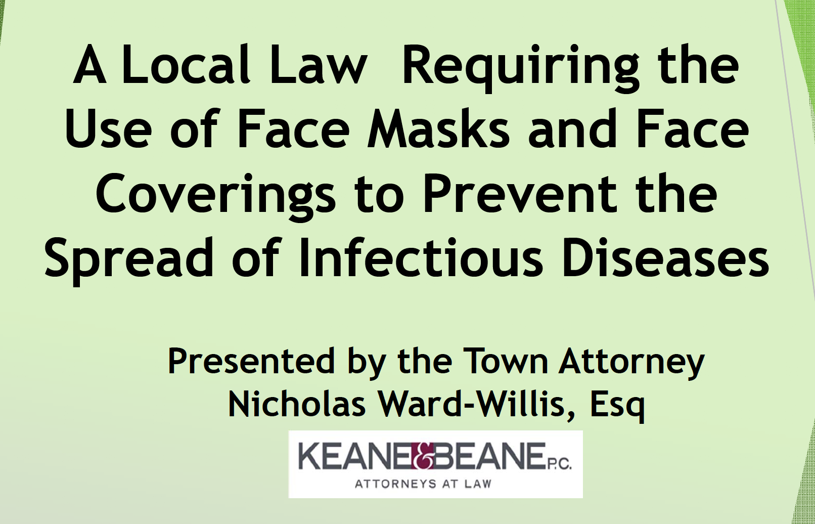 Local Law Face Masks Presentation Title Slide