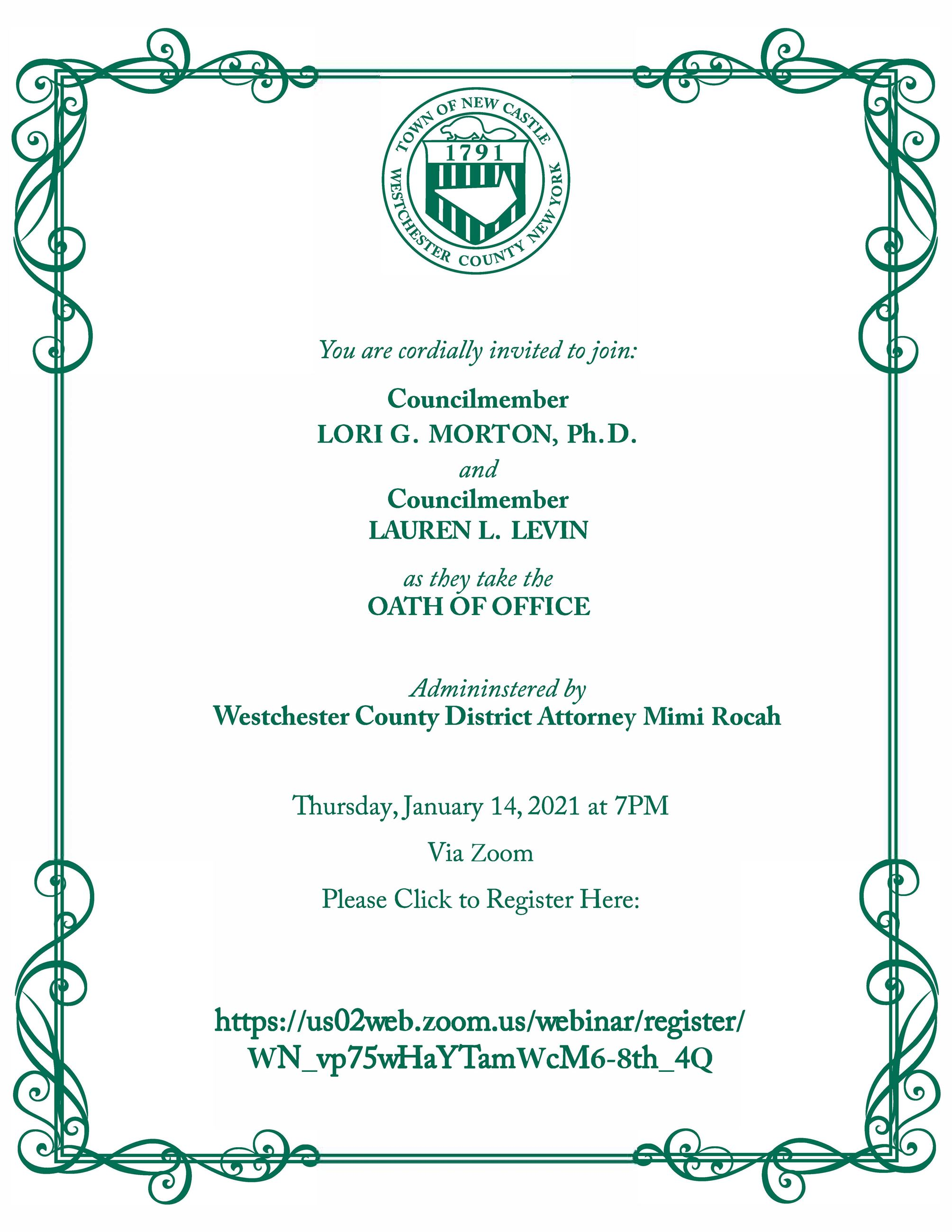 Town of New Castle Inauguration 2021 Invitation