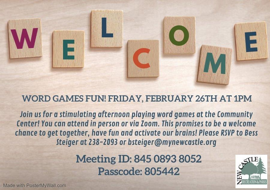 Word Games Fun  - Senior Program Flyer February 26 2021