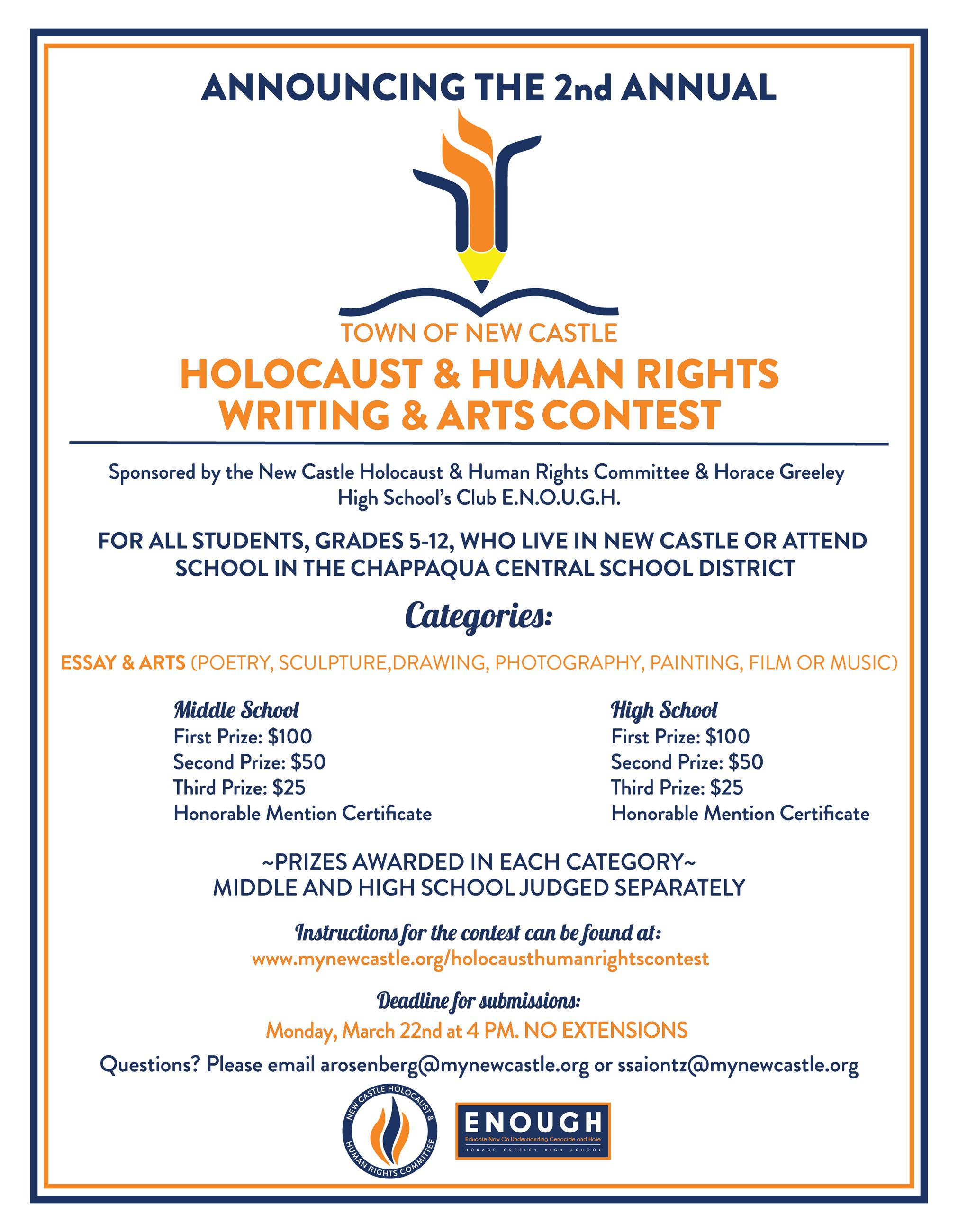 Holocaust Human Rights Art Writing Contest 2021 Flyer Thumbnail